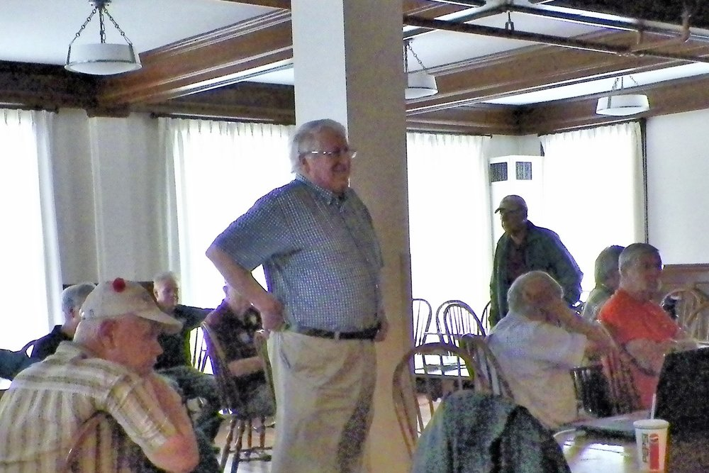 Carl Byron, B&MRRHS Past President, waits for crowd to assemble before beginning his talk on Ayer, Mass., as a railroad center. Some 40 to 45 people were present to hear his presentation. Richard Nichols photo