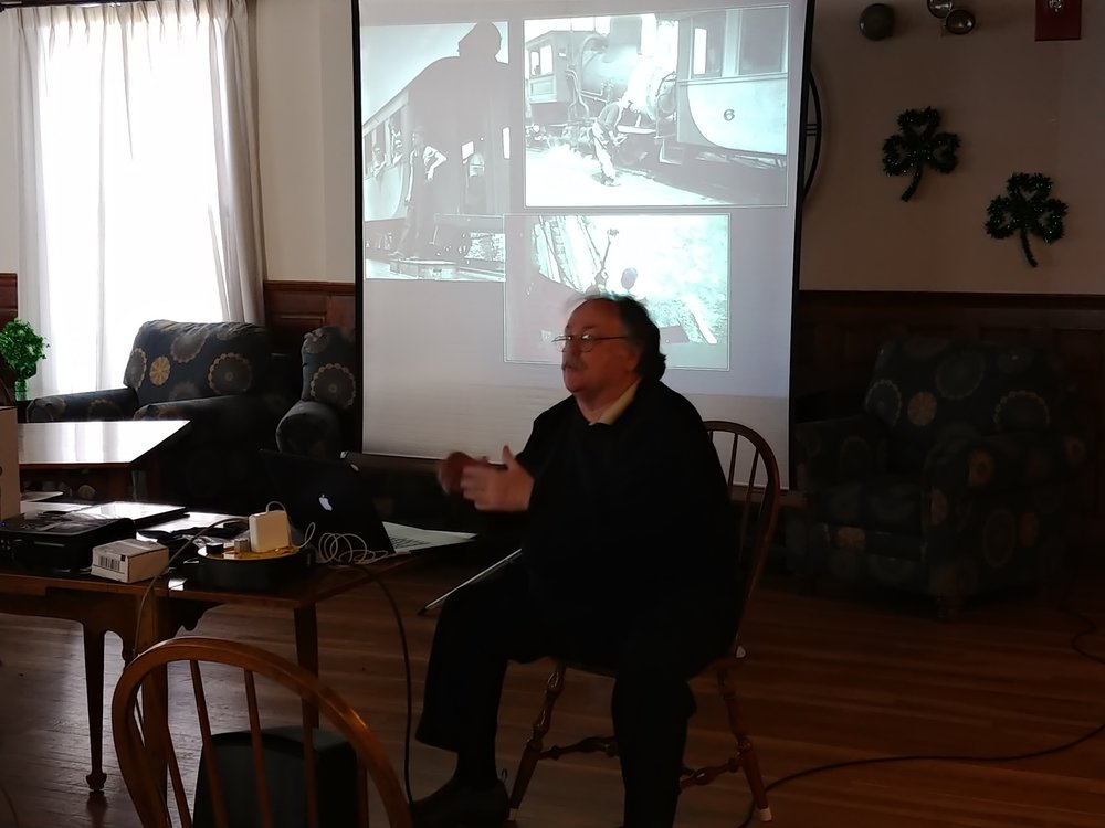 Professor Tim Lewis of Northern Vermont University—Lyndon sets the stage for his talk about the Mt. Washington Gog Railway and its employees. Rogers Hall, Lowell, March 9, 2019
