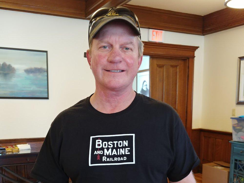 Jonathan Wells, Pan Am locomotive engineer, spoke at the April 13, 2019 meeting of the B&MRRHS. Staff photo.