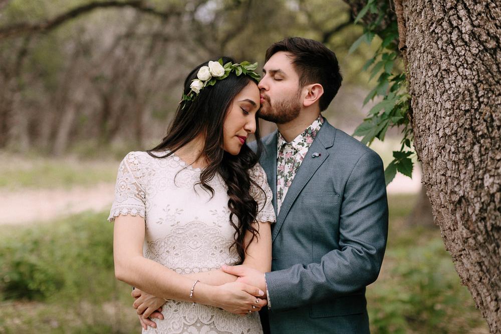 Blue Hole Regional Park Wedding Bride and Groom Embracing