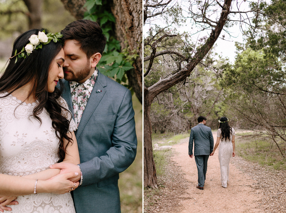 Blue Hole Regional Park Wimberley Texas Wedding Bride and Groom Embracing and Walking