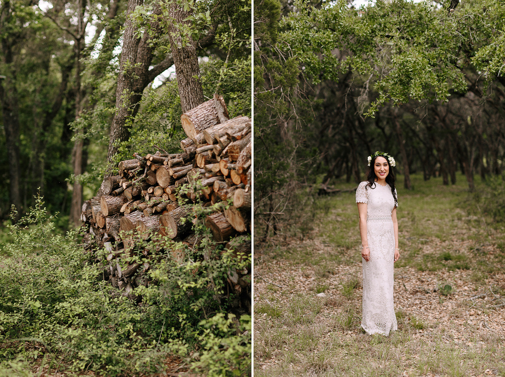 Wimberley Texas Bride Standing in Forest