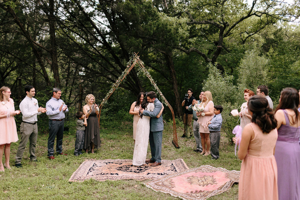 Wimberley Texas Backyard Wedding Ceremony Kiss