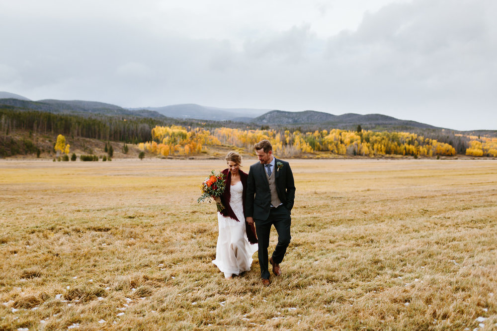 Winding-River-Ranch-Wedding-Bride-Groom-Walking-Mountains