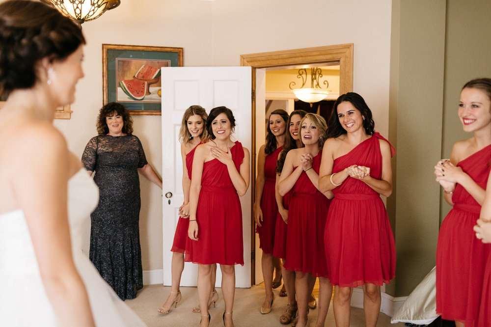 Bride Getting Ready Bridesmaids First Look