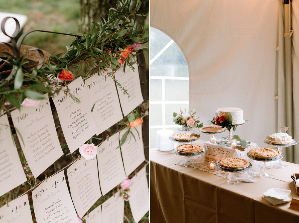 Seating chart wedding cake dessert pies