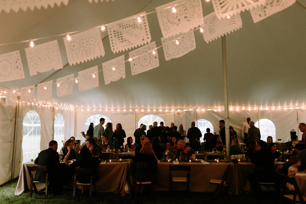 Wedding reception tent dinner