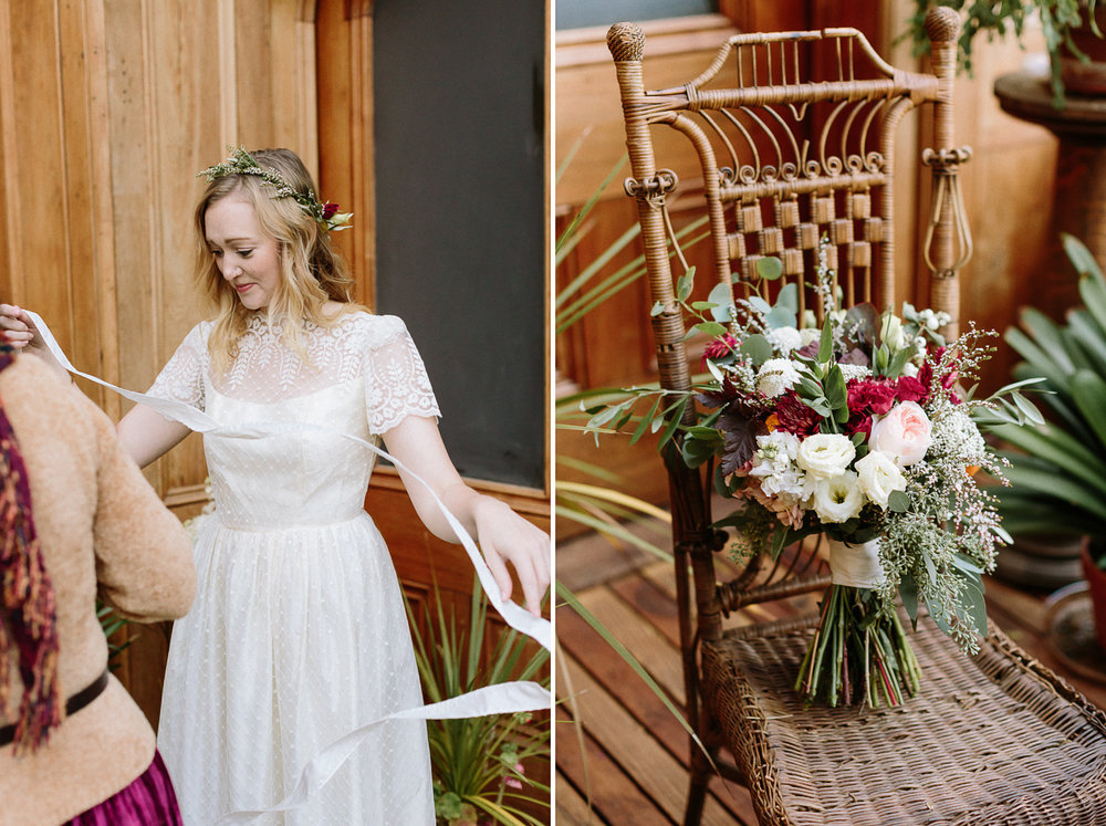 Bride getting ready with dress flowers on chair
