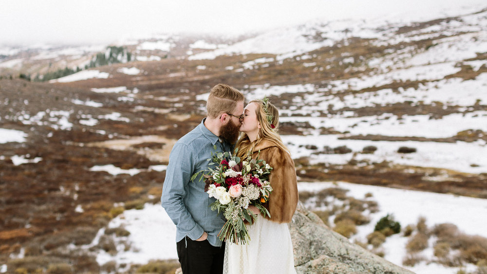 Guanella Pass wedding photographer snow