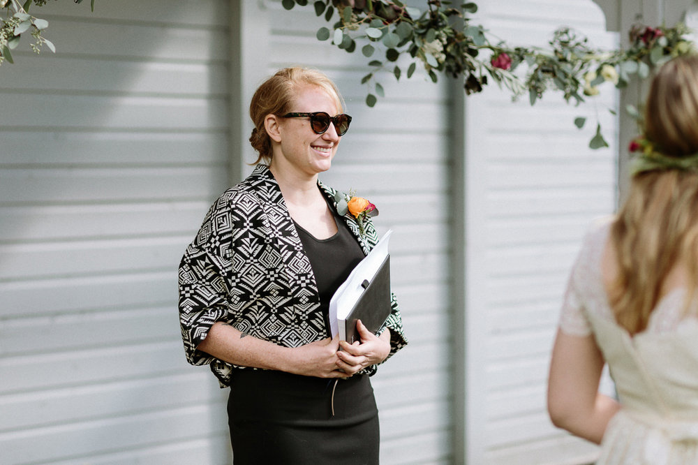 Officiant smiling