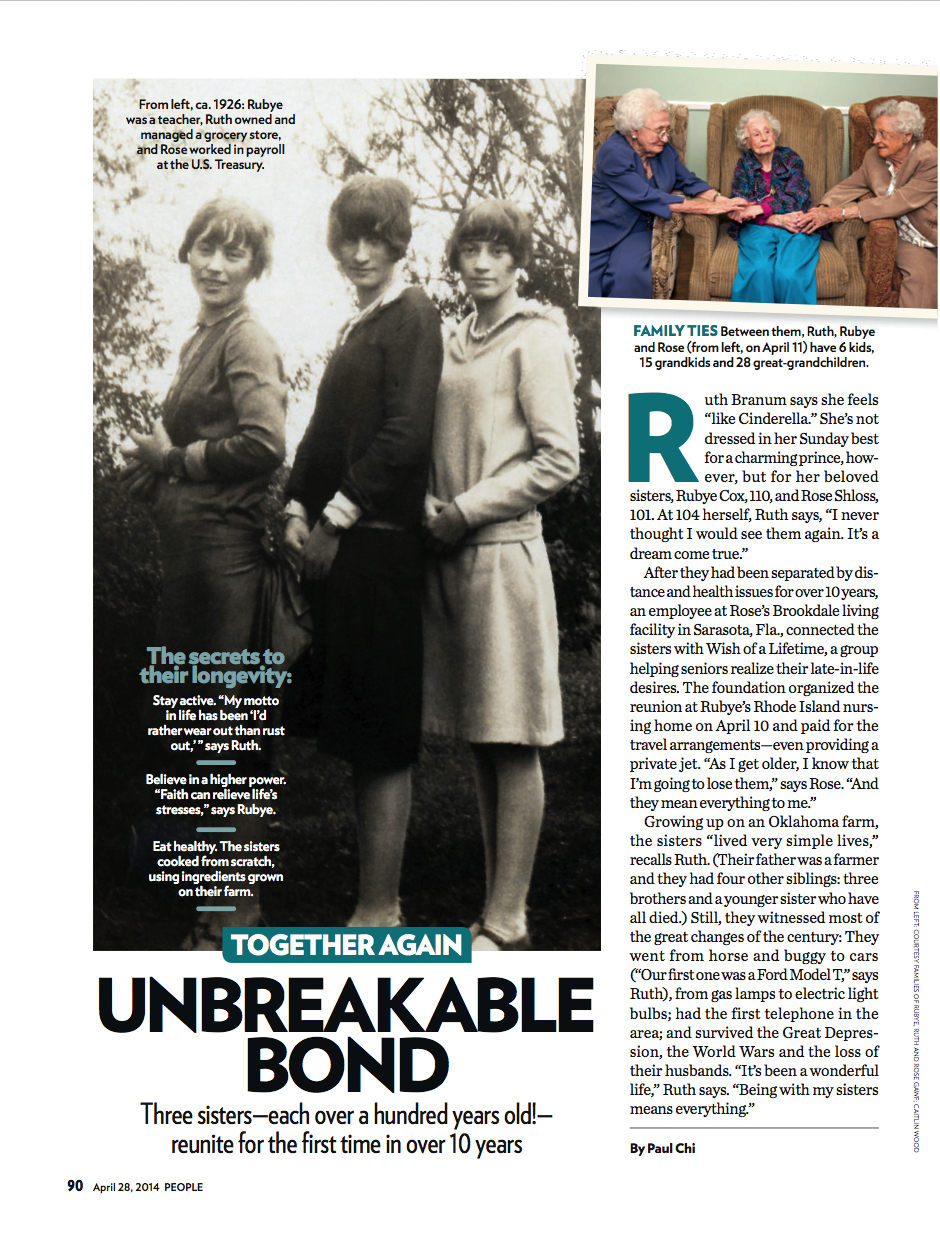 People Magazine   Centennial Sisters