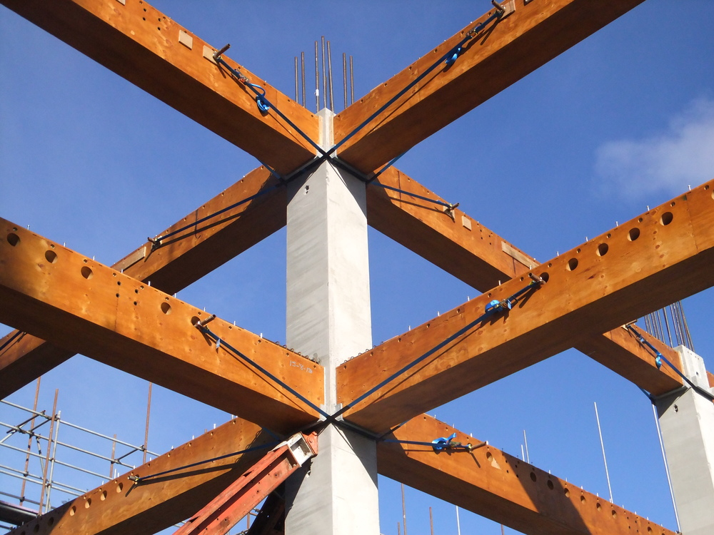 Hybrid Concrete Column / LVL Beam Two-Way Frames