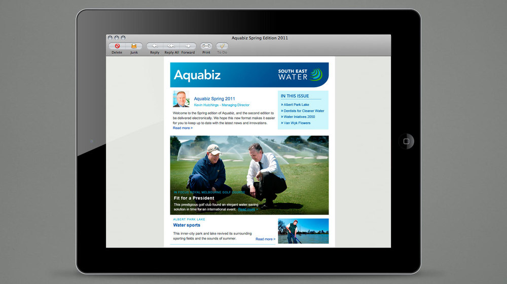 South East Water Aquabiz email newsletter
