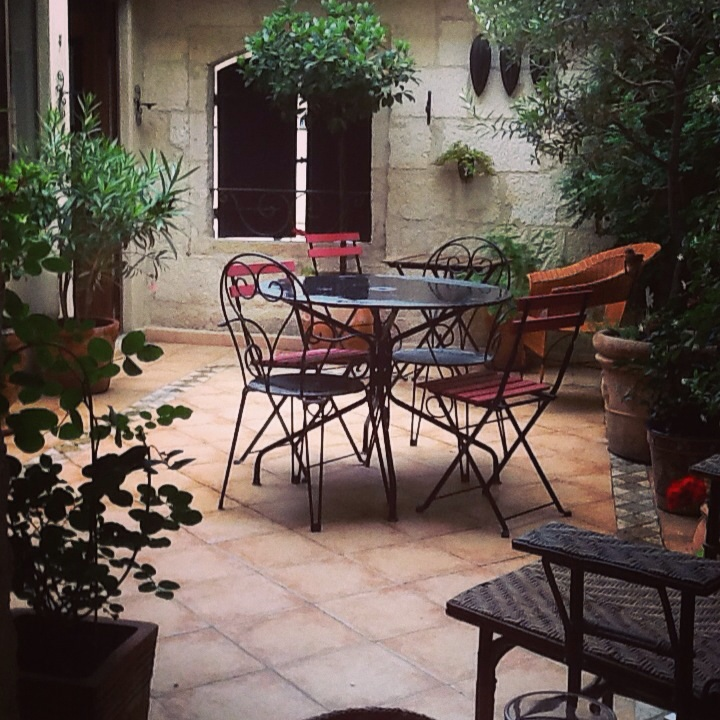 The terrace every morning for coffee and croissant.