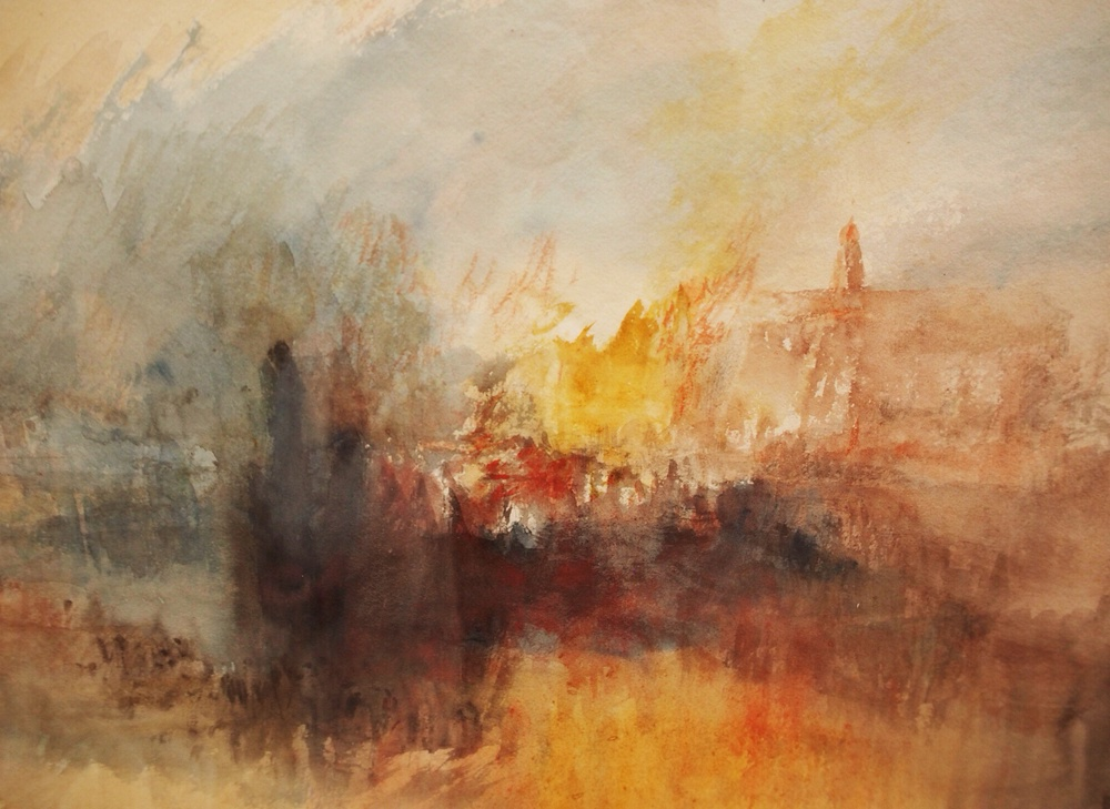 A Fire at The Tower of London, watercolour on paper