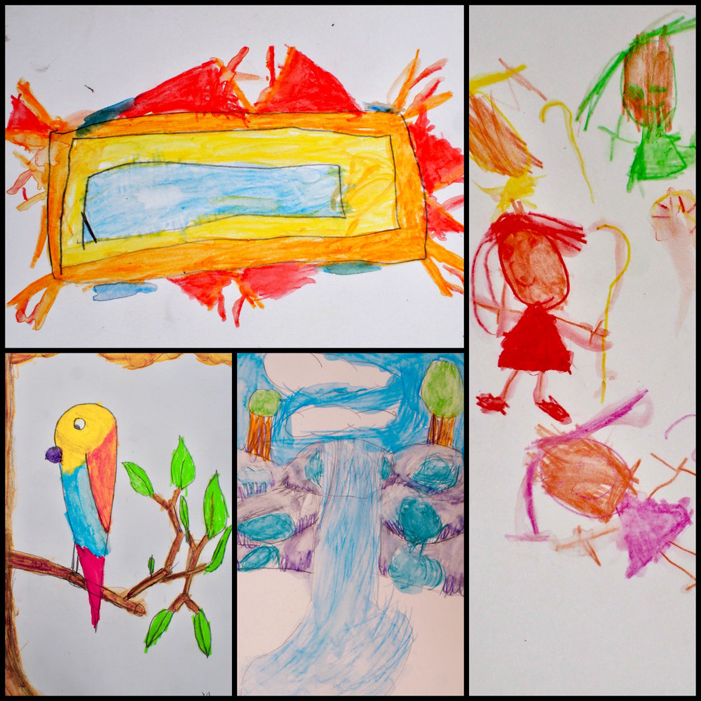 One day I ran a little drawing workshop with some kids in the campground … The Work….LOVEX