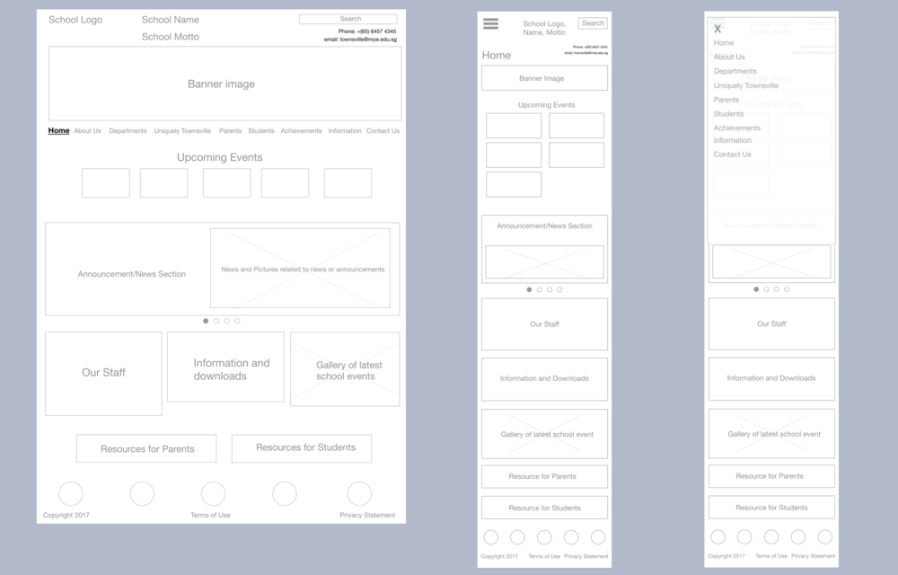 Left: Revamp Home page (wireframes)  Middle: Home Page on mobile (wireframes)  Right: Home page on mobile with navigation expanded (wireframes)