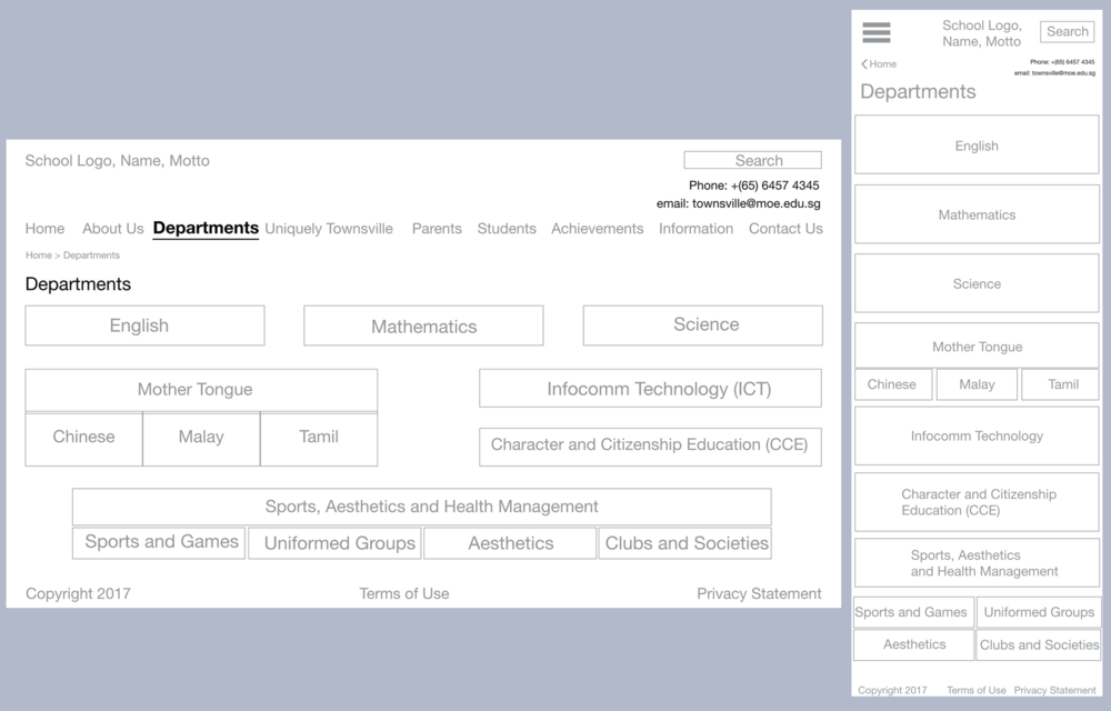 Wireframes for Desktop and Mobile view of the Departments page