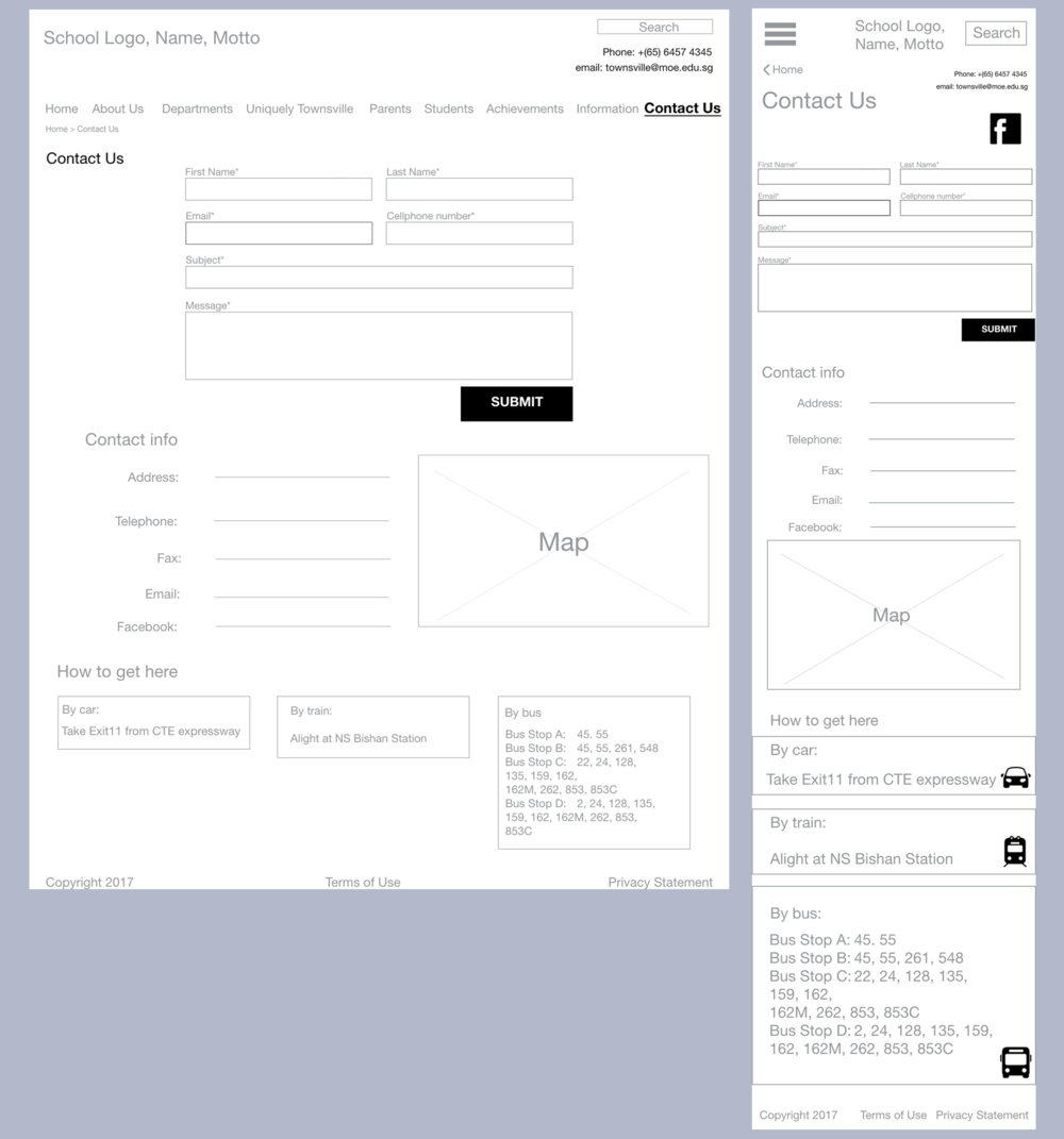 "Wireframes for ""Contact Us"""