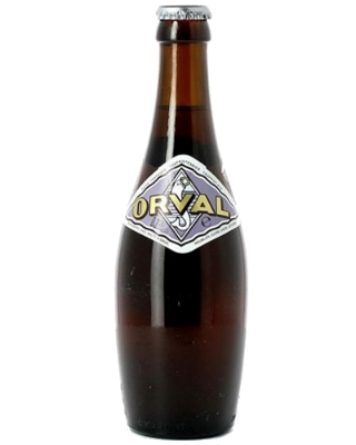 Orval Brewed using a mix of high-quality Bavarian, Slovenian and Alsacian hops and then refermented in the bottle, the Orval has an intense aroma of hop flowers balancing its extra dry character. 6.2%ABV, Trappist Dark Ale