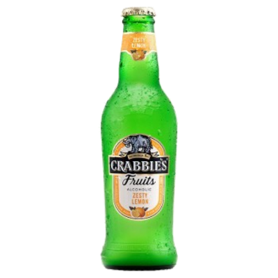 Crabbie's Zesty Lemon Gluten free Real Lemon and real Crabbie's refreshment! Made with real fruit; natural lemon juice and a squeeze of inspiration. 4.0%ABV, Alcoholic Jucies
