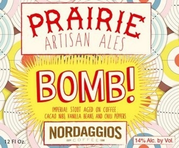 Prairie Bomb! Bomb! is an imperial stout aged on espresso beans, chocolate, vanilla beans, and ancho chile peppers. All the flavors meld to create a truly unique beer. The peppers add just the right amount of heat to compliment the intense coffee and chocolate flavors. 13%ABV, Imperial Stout