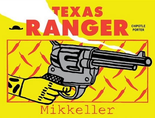 Mikkeller Texas Ranger A Chipotle Chilli porter. The taste starts out with notes of chocolate and syrup, progressing to a peaty whisky flavour. At the end,  the chilli builds up to give a slight heat for the finish. 6.6%ABV, Porter