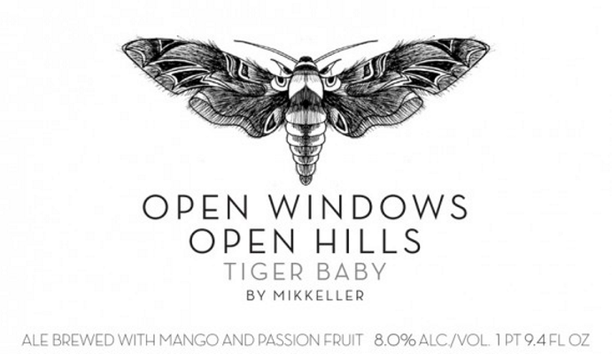 Mikkeller Tiger Baby: Open Windows, Open Hills   A pale ale brewed with mango and passionfruit on the occasion of the release of Tiger Baby's third album Open Windows Open Hills.   5.0%ABV, American Pale Ale