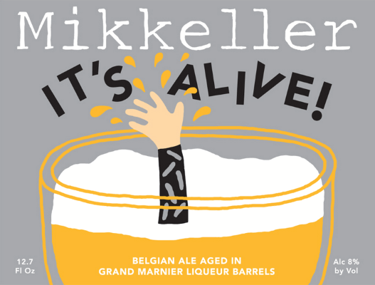 "Mikkeller It's Alive! Grand Marnier Mikkeller's It's Alive has been spending some time in Grand Marnier barrels. ""Grand Ma"" is an orange-flavored brandy lmade from a blend of cognac, bitter orange, and sugar.  8.0%ABV, Wild Ale aged in Grand Marnier Barrels"