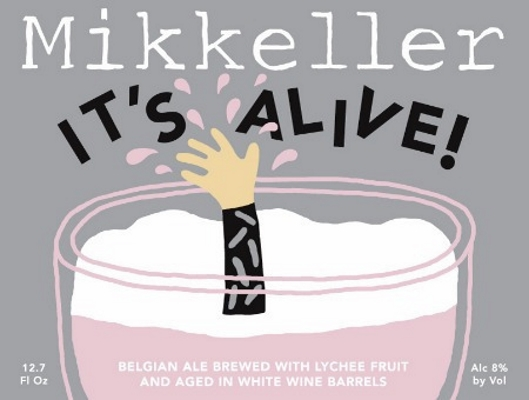 Mikkeller It's Alive! White Wine Lychee Belgian ale brewed with lychee fruit and aged in white wine barrels. This gives a amazing soft mouthfeel and a very pleasant flavour with lychee and apple notes. 8.0%ABV, Wild Ale with Lychee aged in White Wine Barrels