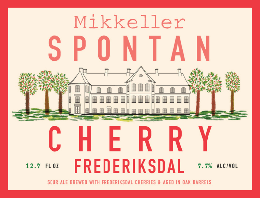Mikkeller SpontanCherry (W/ Frederiksdal) SpontanCherry Frederiksdal is an oak aged sour ale by the Danish gypsy brewery. Frederiksdal refers to the estate from which the beer gets its sour cherries. 8.2%ABV, Fruit Lambic