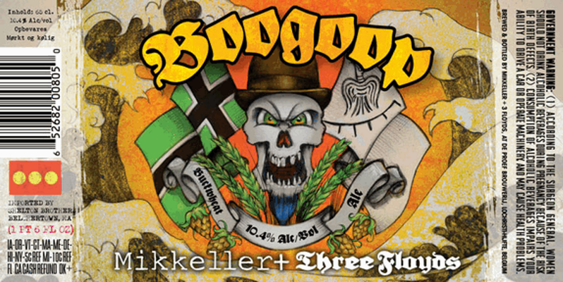 Mikkeller/Three Floyds Boogoop   A delightful Buckwheat Wine brewed by Three Floyds and Mikkeller. T his is a barley wine but it is brewed with a higher percentage of buckwheat. Rich malt palate supported by robust hop character.    10.4%ABV, Buckwheat Wine