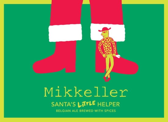 Mikkeller Wheat is the New Hops Santa's Little Helper is a dark, strong Belgian ale, lightly spiced with sweet orange peel, coriander seeds, cinnamon and cocoa. 11%ABV, Belgian Strong Ale