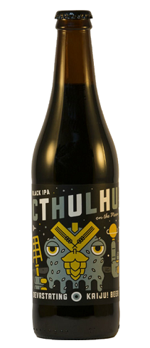KAIJU! Cthulhu On The Moon   A complex malt bill, yet refreshing beer. Delivers layers of roasty flavours, coffee and panela, offset by herbaceous hop profile.   6.5%ABV, Black IPA