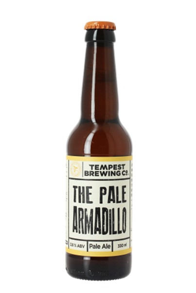 Tempest The Pale Armadillo A tropical hop fuelled West Coast wanderer, the Armadillo transcends the ages. Expect waves of zesty citrus rolling over local barley, giving a nod to the session ales of yesteryear. Hop amplified for flavour, this is a beer for the present day. 3.8%ABV, Pale Ale