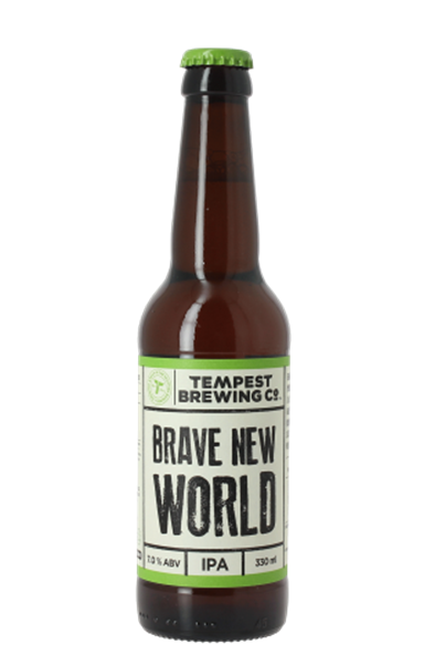 Tempest Brave New World   Embark on a voyage of discovery. Pioneering local barley balances a long maturation with North American hops. Bittersweet yet rounded, complex but consistently satisfying. Welcome to a Brave New World.   7.0%ABV, Indian Pale Ale