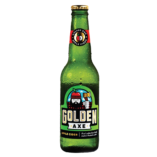 Golden Axe Apple Cider Gluten-free, with no concentrates/ added sugar. This is one unpretentiously delicious Apple Cider with a balanced sweetness and light carbonation that doesn't leave you feeling bloated. A perfect thirst quencher to fight the heat in Singapore! 5.2%ABV, Gluten-free Apple Cider