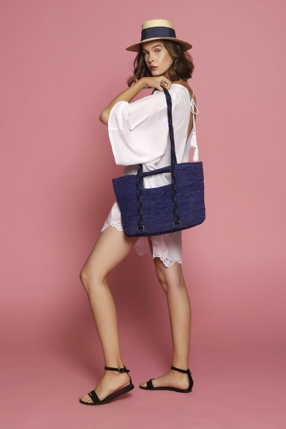 Coverup dress Claudine and Ines shoulder beach bag.jpeg