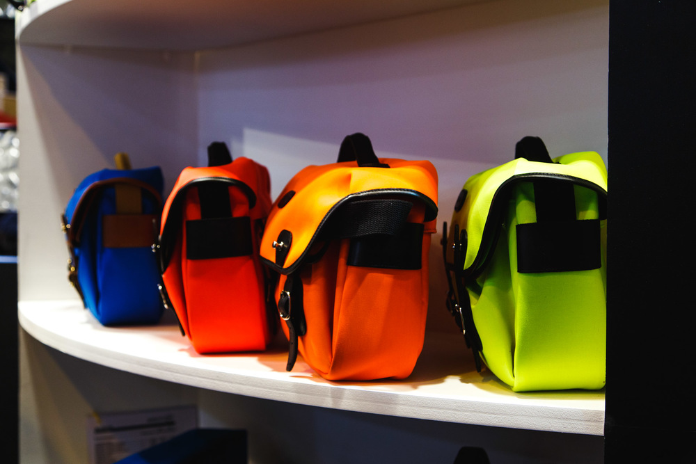 Billingham's colourful camera bags.