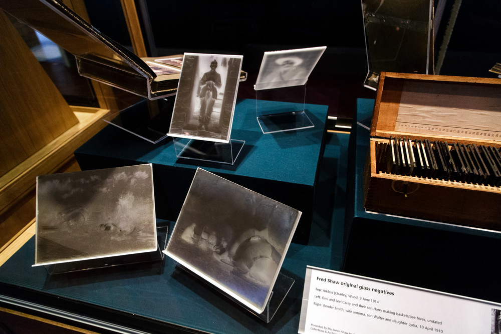 Slides, original prints and glass plate negatives on display which gave an idea of how Shaw worked.