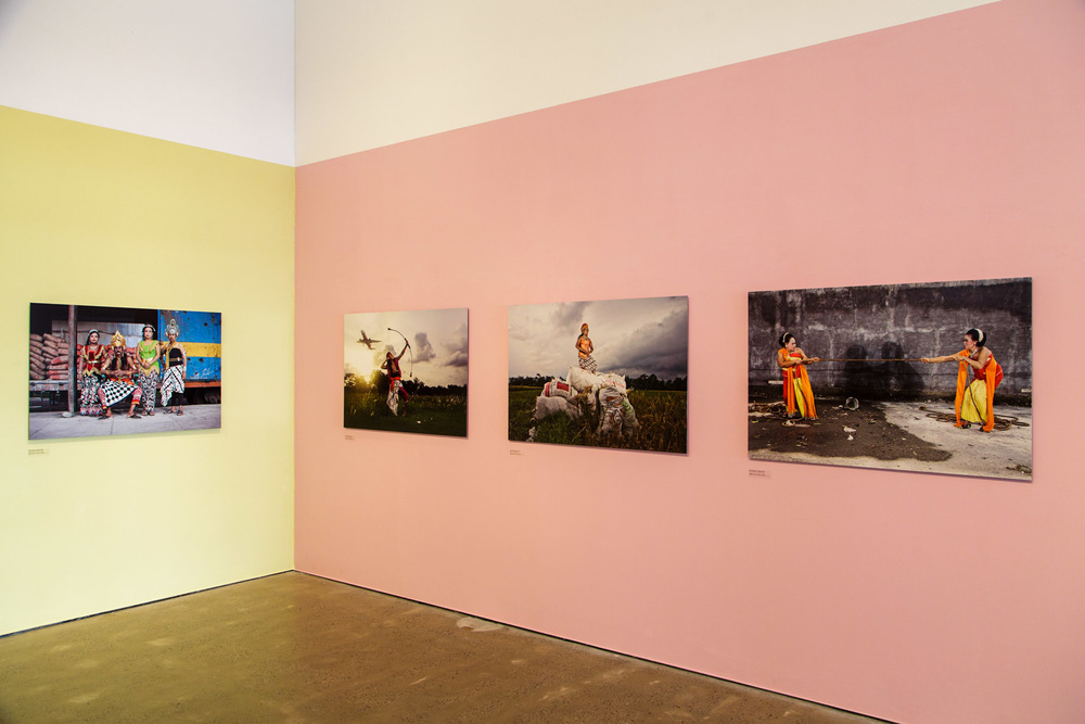 The photos were displayed on three different pastel-coloured walls, which went well with the costumes worn in the photographs.