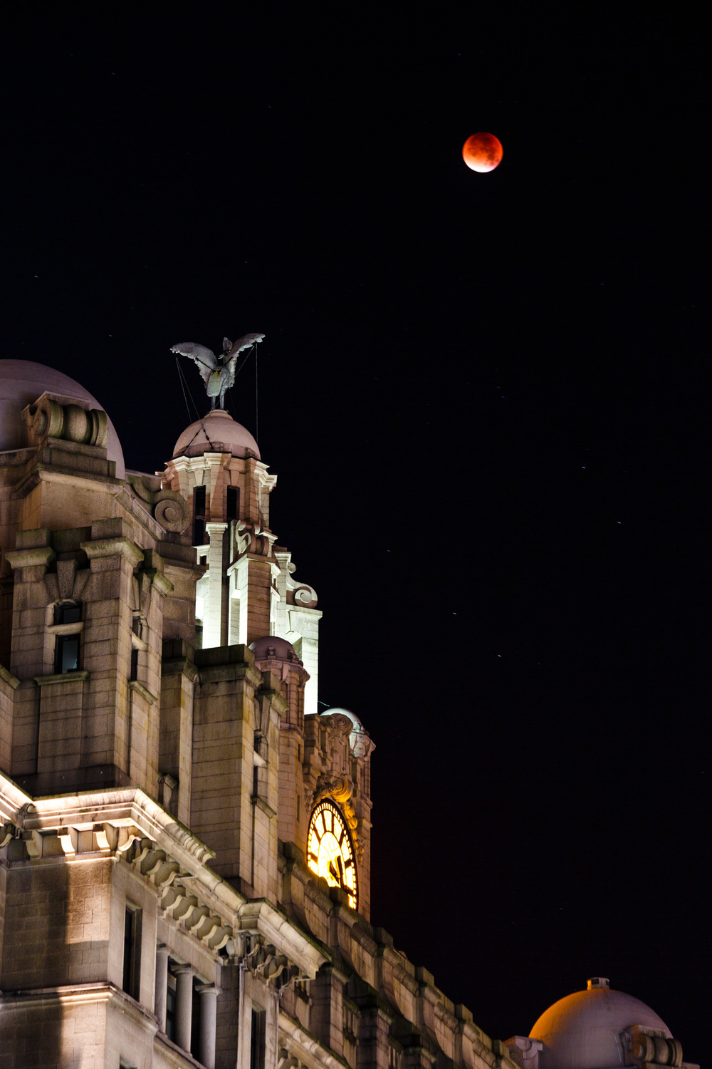 One of the Liver Birds facing the Bloodmoon.