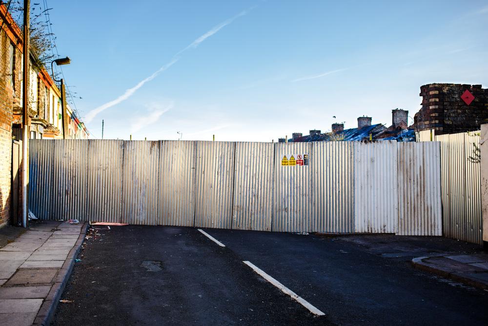 April 2013 - a barrier blocks off the demolition zone.