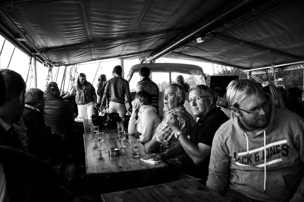The cosy atmosphere on the boat.