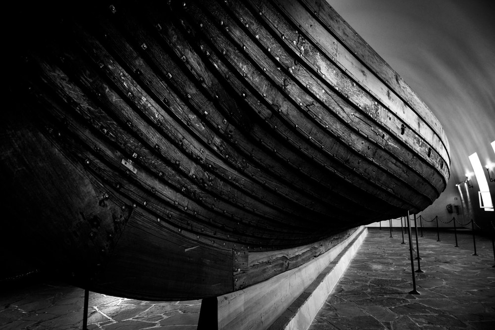 The sweeping curves of one of three Viking boats at the museum.