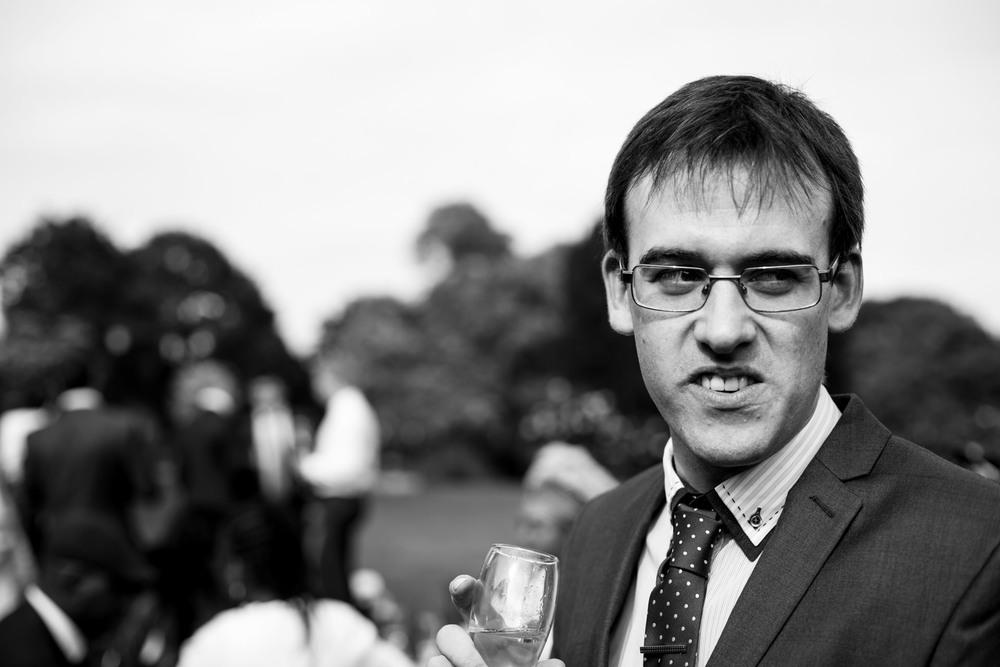 Mike, one of my school friends, keeping a watchful eye out for the canapes.