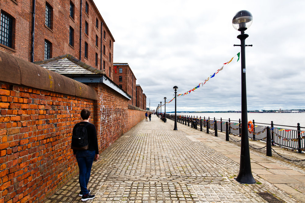 The view along the Mersey at the back of the Albert Dock buildings.