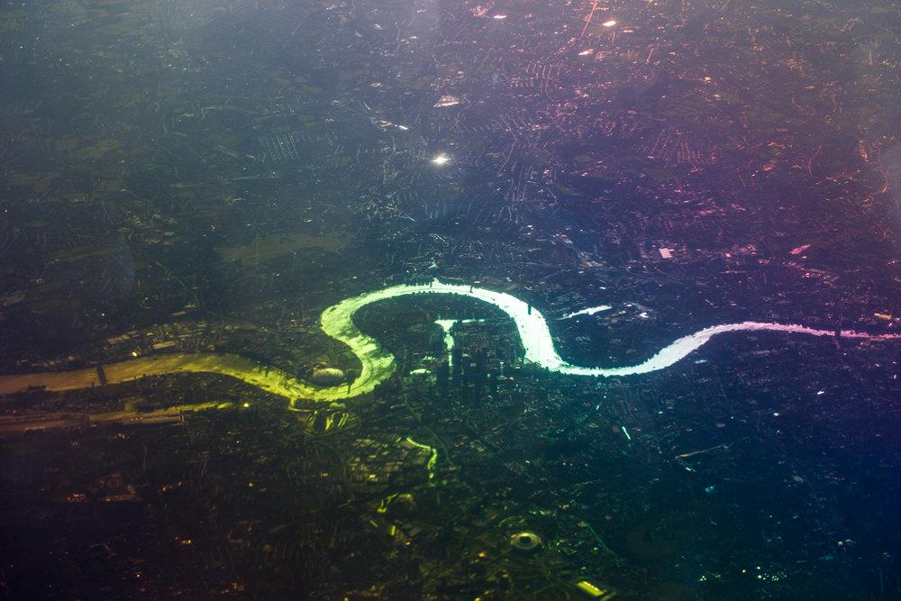 Back in the UK - flying back in over the RIver Thames.