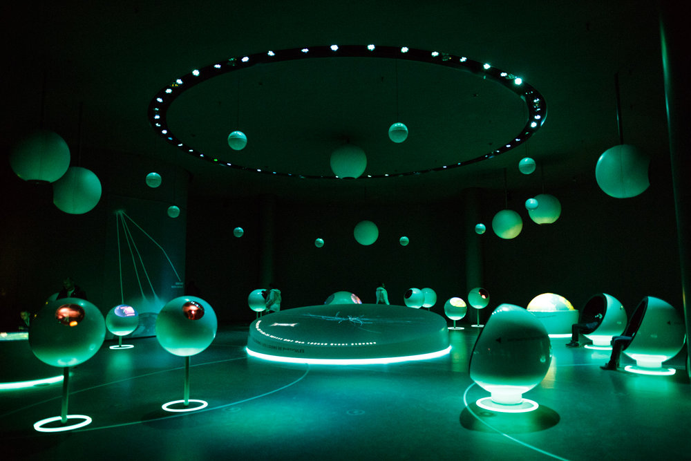 The ' Universe of Particles ' exhibition inside the Globe.