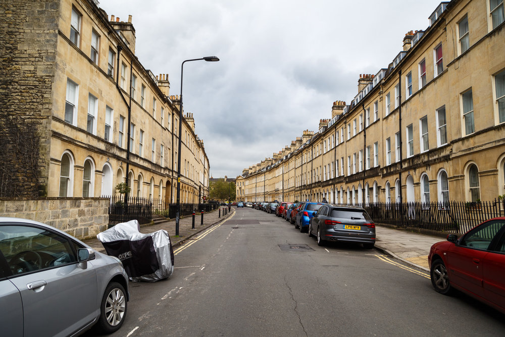 Henrietta Street. The yellow-coloured stone is distinctive and used throughout Bath.